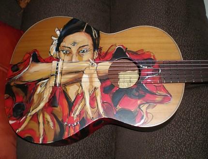 Guitarra personalizada pintada a mano.